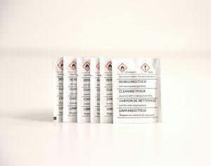 Isopropanol-Reinigungstuch in Einwegverpackung zur Druckkopfreinigung
